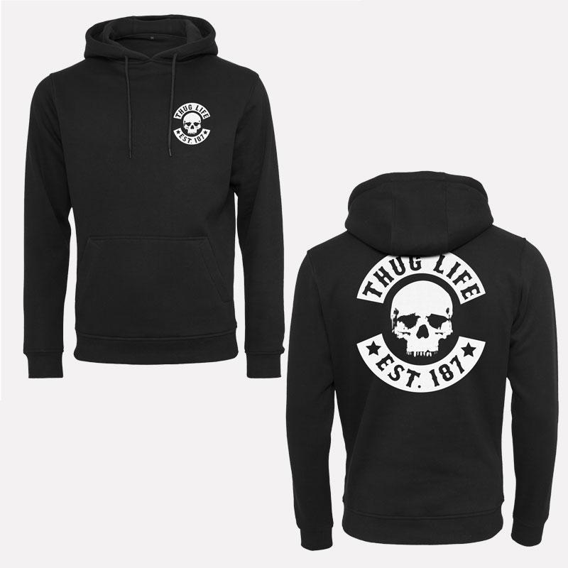 thug life skull logo hoody kapuzenpullover pullover hoodie. Black Bedroom Furniture Sets. Home Design Ideas