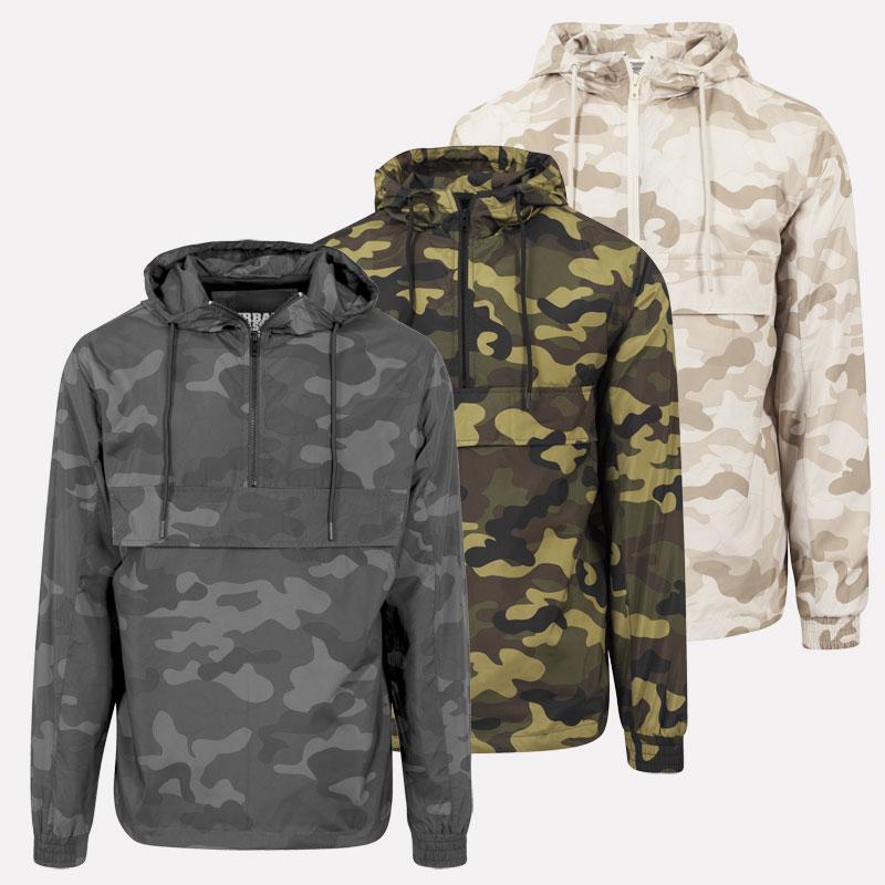 Urban Classics Men's Camo Windbreaker Pullover Jacket Hooded ...
