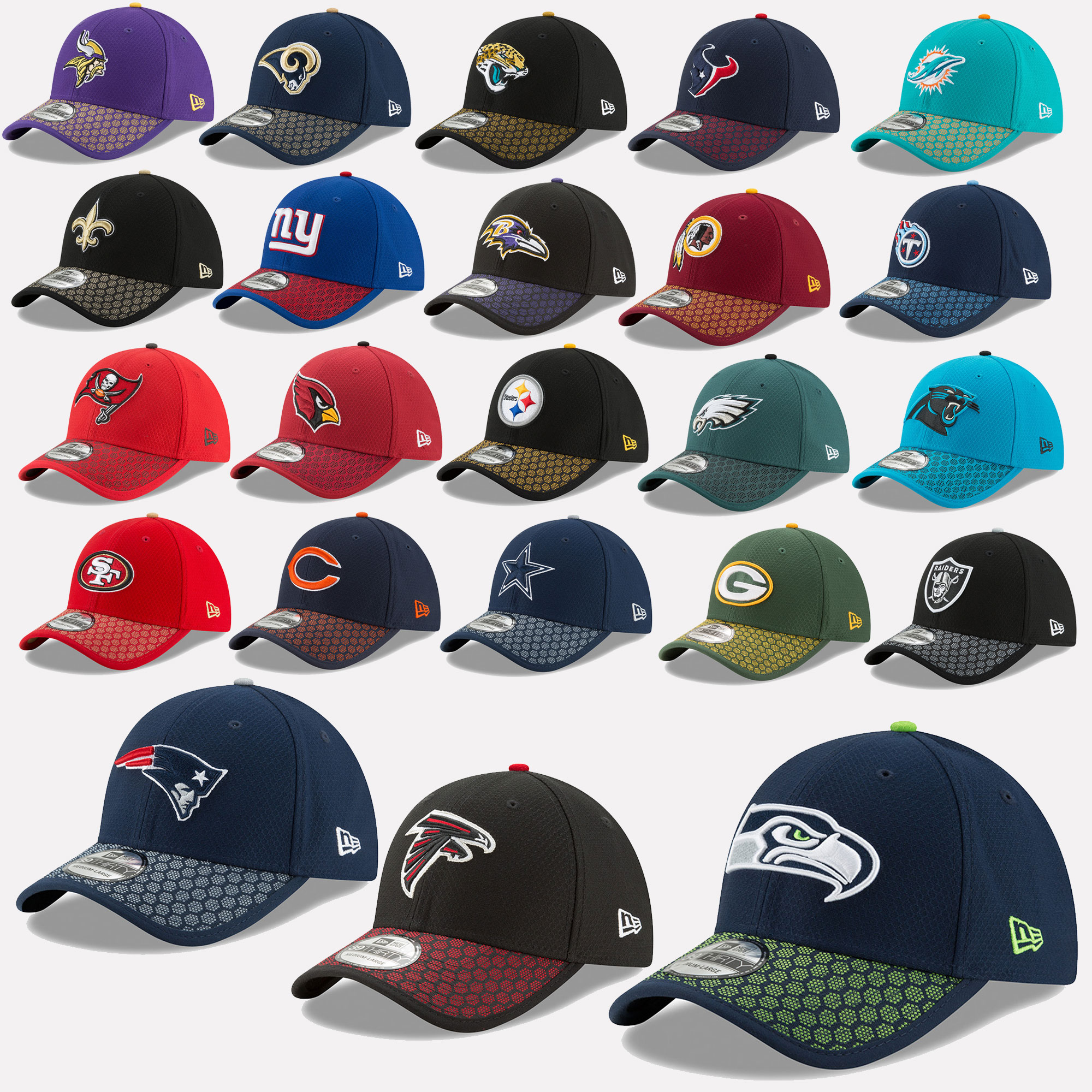 New Era Cap 39THIRTY NFL Sideline 2017 Seahawks Patriots Raiders ... 4f62abf100f