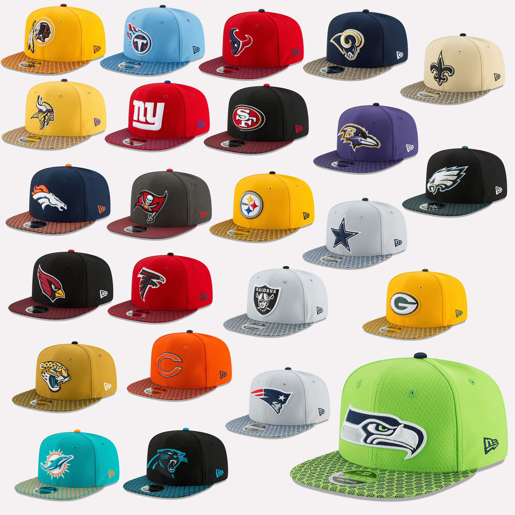 Details about New Era Cap 9fifty Snapback NFL Sideline 2017 Seahawks  Patriots Raiders 7ea9ae9aa82c