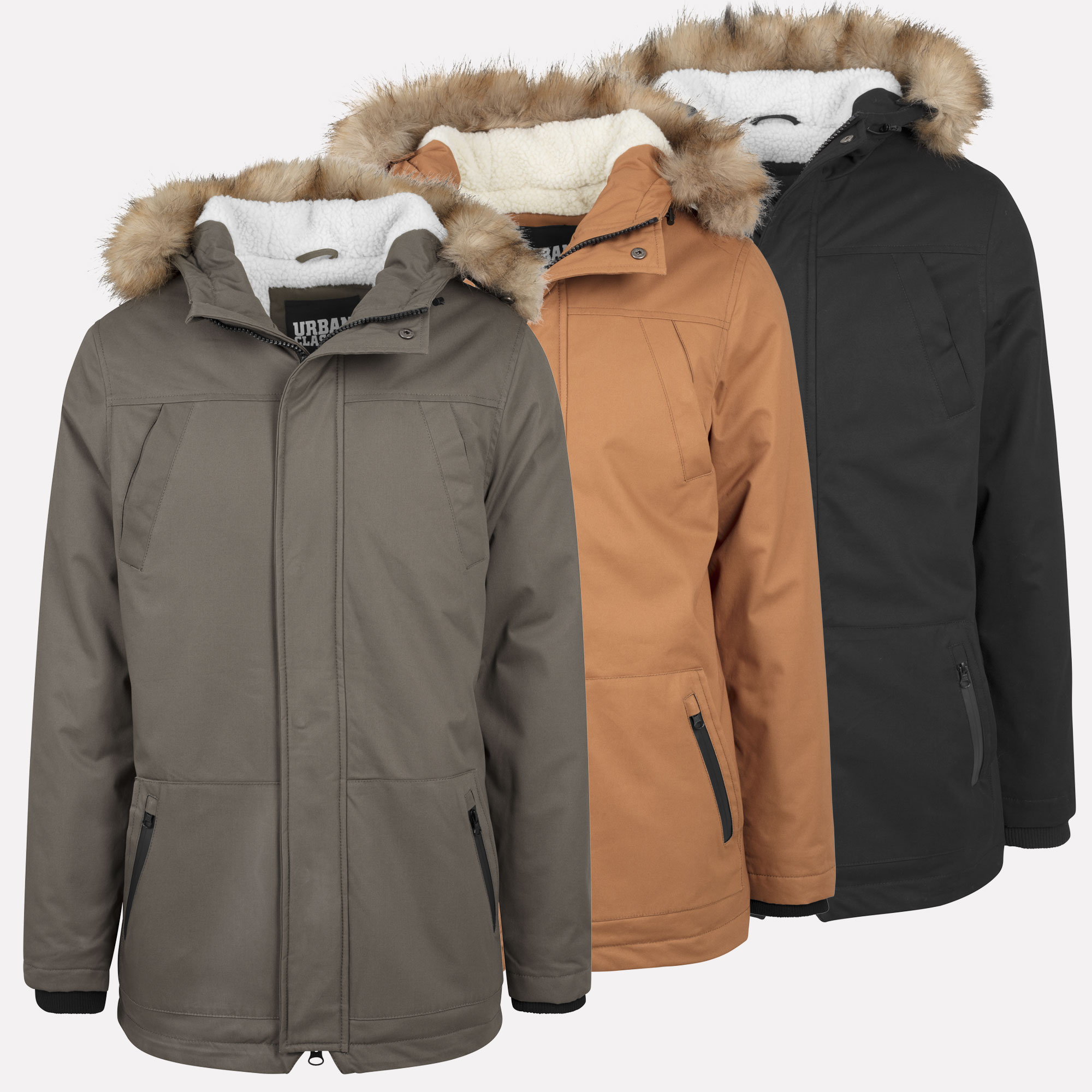 urban classics men 39 s heavy cotton parka jacket fur collar coat s xxl ebay. Black Bedroom Furniture Sets. Home Design Ideas