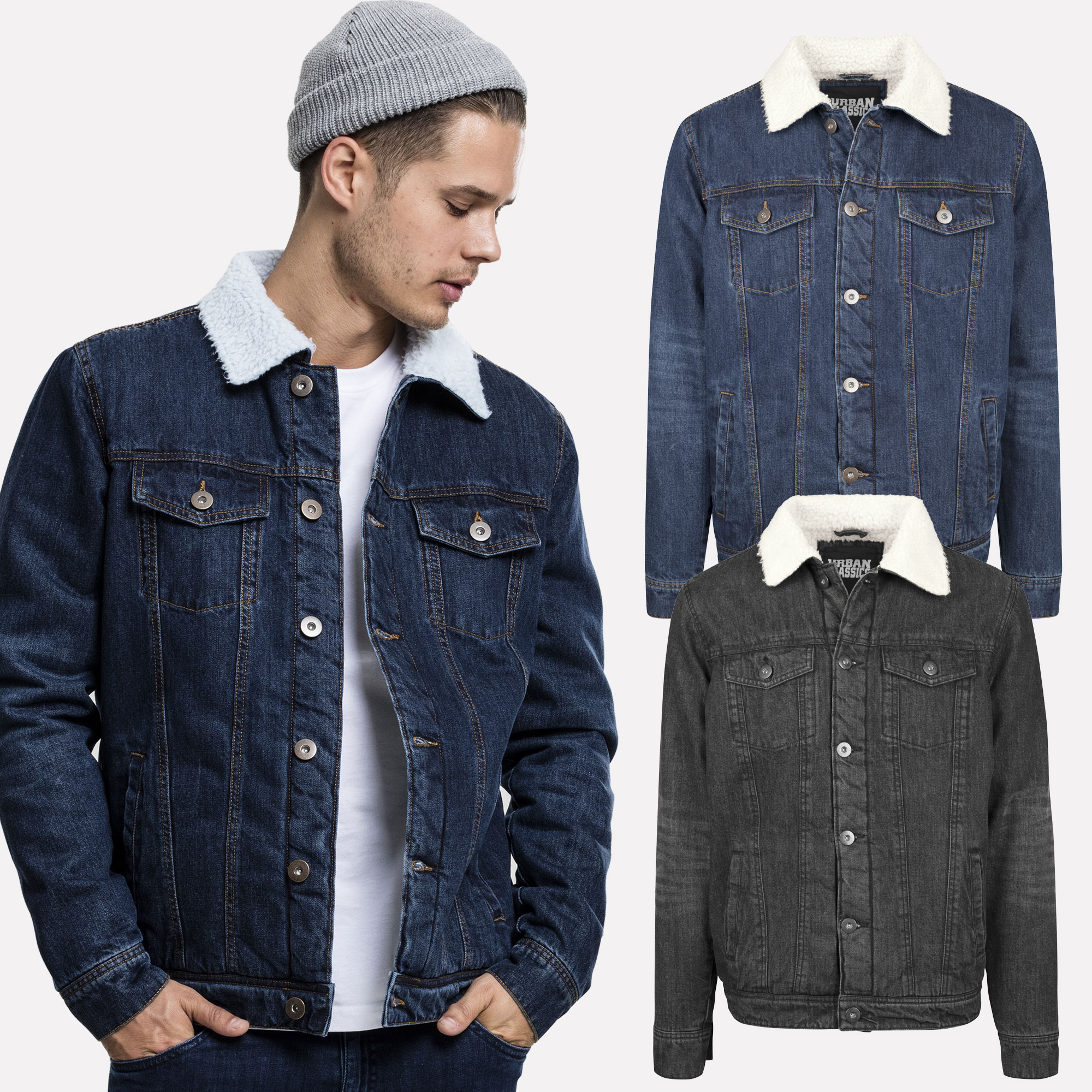3805f84e74c Details about Urban Classics Men s Denim Jeans Jacket Denim Jacket Collar  Padded Fur S - XXL