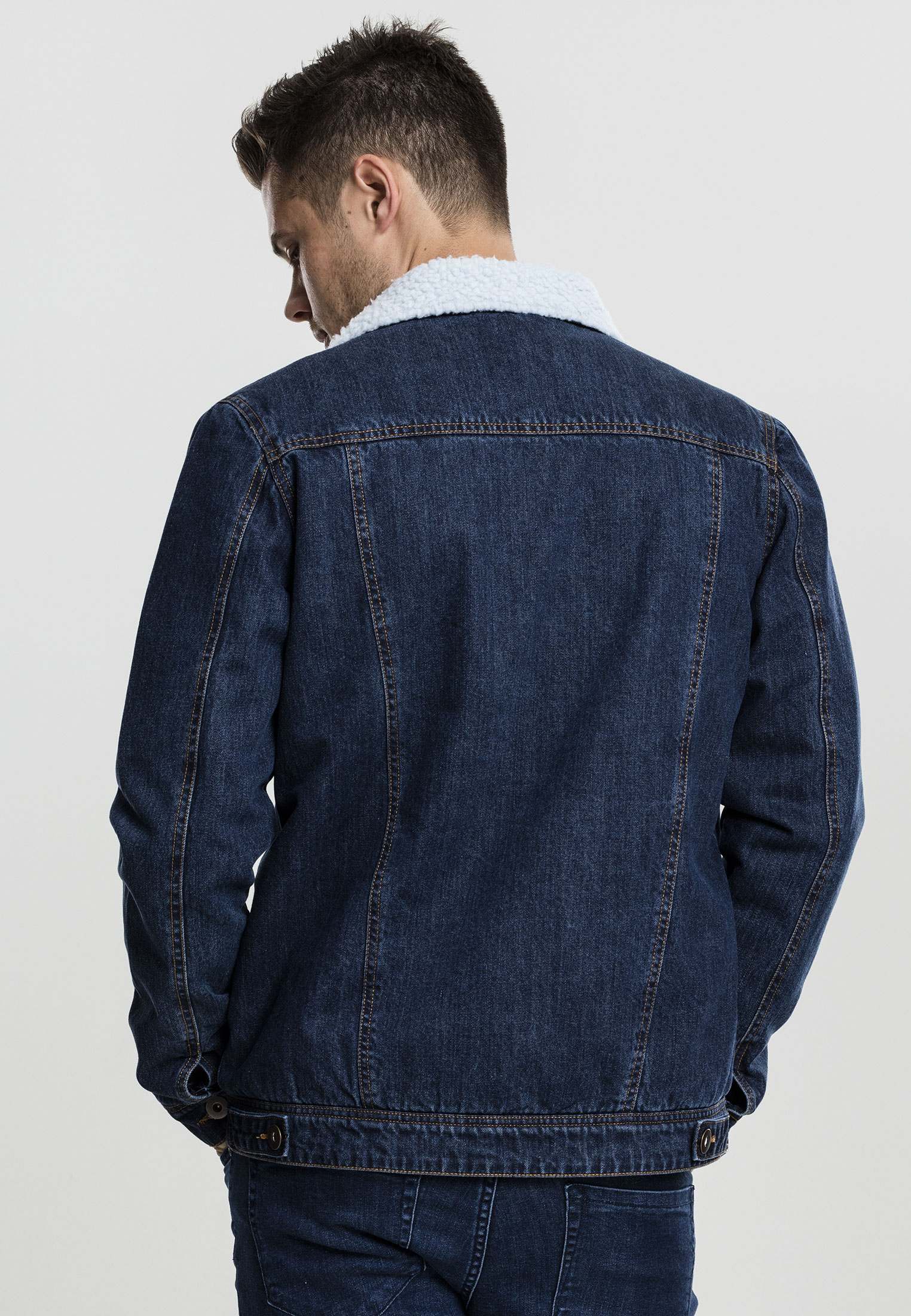 urban classics herren denim jeansjacke jeans jacke kragen. Black Bedroom Furniture Sets. Home Design Ideas